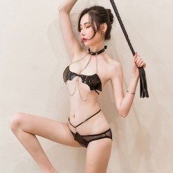 Babydoll pour femmes noir en cuir verni tentation chaîne chauve-souris forme soutien-gorge culotte 2 pièces ensemble épicé body Lingerie