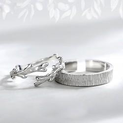 Vigne d'arbre à tronc d'origine Anneaux de couple ouverts en argent Bague de mariage cadeau romantique amoureux