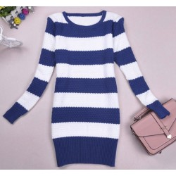 Fashion Fresh Colored Strip Long Knit Sweater