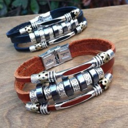 Unique Circles Charms Leather Bracelets