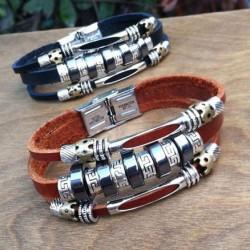 Unique Circles Charms Leather Bracelets