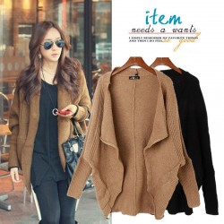 Fashion Irregular Cut Bat Sleeve Wool Cardigan Sweater