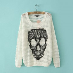 Fashion Casual Lace Skull Loose O-neck Batwing Sleeve Mixed Color Sweater