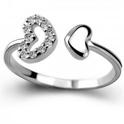 Bague Amoureux Romantique Bague Double Couple Coeur Argent Zircon Ouvert