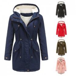 Mode couleur unie à capuche cordon de serrage dos épaissir coton grande taille velours coton femmes automne hiver manteau