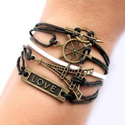 Tour Eiffel Flèche Direction Bracelets Amour