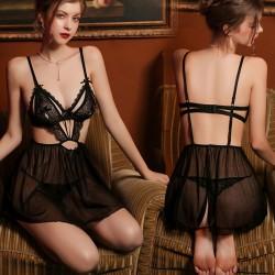 Nuisette pour les femmes Perspective dos nu profond V maille chemise de nuit body Chemise pyjamas licou Lingerie