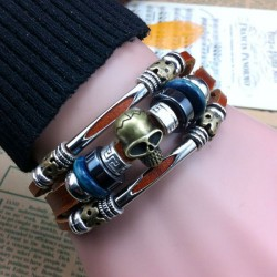 Hand Made Skull Charms Buckle Leather Bracelet
