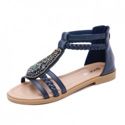 Vintage Bohême Perlé Zipper Strass D'été Appartements Femmes Chaussures Sandales Romaines
