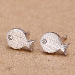 Or S925 Argent poisson plaqué Boucles d'oreilles