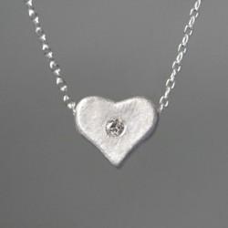 Unique Cœur Forme faux diamant 925 Argent Collier