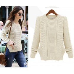 Personality Side Split Cable Knit Sweater