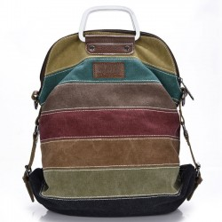 Retro épissage coloré toile rayée sac à dos sac à bandoulière scolaire sac à main multifonctionnel sacs à dos