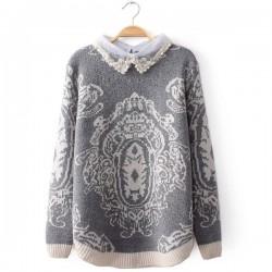 Pearl Diamond Lace Collar Stitching Totem Sweater