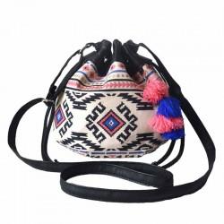 Belle Femmes coloré Mini Populaire Géométrie Stripe Drawstring sac seau sac à bandoulière