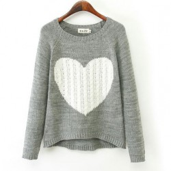 Heart Pattern Irregular Cut Knit Cardigan Sweater