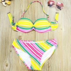 Bright Colors Striped Print Woman Bikini Swimsuit Swimwear