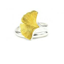 Feuille de Ginkgo en argent 925 bijoux bague d'ouverture