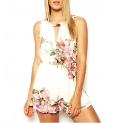 Summer New Sexy Sweet Floral Jumpsuit Shorts