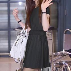 Mode Fils Net épissage manches courtes col rond Solide Bandage Robe à taille