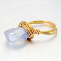 Océan Bleu Asymétrique Naturel Cristal Laiton Le Main Enroulement Anneaux