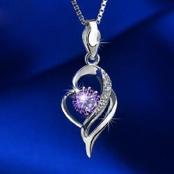 Noble Creux diamant Heart-Shaped Pendentif 925 collier en argent
