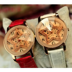 Large dial full of crystal pentagram belt fashion women watches