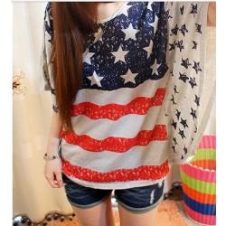 Chemise vintage à manches chauve-souris avec drapeau USA