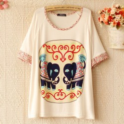 Floral Sleeves Elephant Loose T-shirt