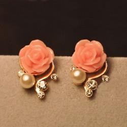 Mode strass Bohême Rose Boucles d'oreilles