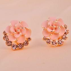 Élégant Camélia faux diamant Des boucles d'oreilles& Goujon
