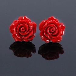 Nouveau Doux Argent Laque Boucles d'oreilles Corail Fleur Rose