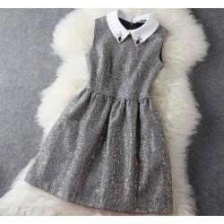 Mode De laine Perlé Or Sans manches Robe & Robe de soirée