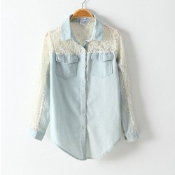 Sexy Lace Slim Sleeved Denim Shirt