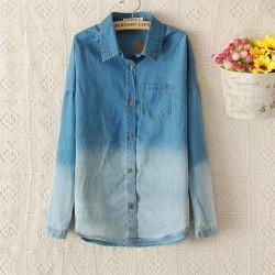 Fashion Blue Gradient Denim Shirt