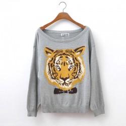 Cool Tiger Head Sleeve Sweater&Cardigan