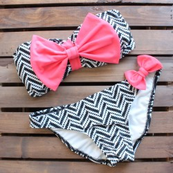 Bowkow And stripe Bikini Swimwear Bathing Suits Bikinis Swimsuit