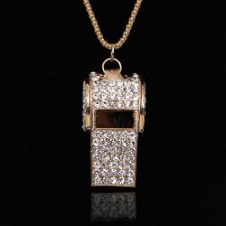 Unique Sucré faux diamant Sifflet Collier