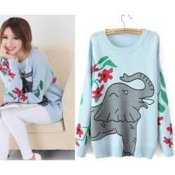 Fashion Cute Elephant  Printed Embroidered Sweater&Cardigan