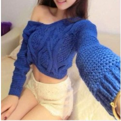 Fashion Strapless Back Straps Navel Crochet Knit Sweater