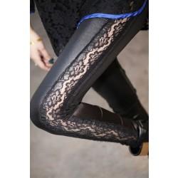 Fashion  Lace Stitching Leather Pants& Leggings