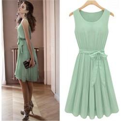 Nouveau Mode Menthe Vert Manches Chauve-souris Robe