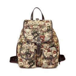 Cute Cartoon Teddy Bear Printed School Backpack