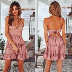 Fresh Hook Flower Fold Stitching Backless Sling Summer Dress