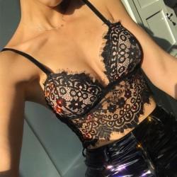 Sexy Camisoles Soutiens-gorge Intimes Cils Ultra-minces Dentelle Sling Lingerie Femme