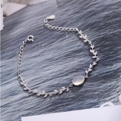 Unique Amant Présent Copine Cadeau Femmes Bracelet Moonstone Feuilles Argent Bracelet