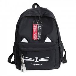 Dessin animé mignon chat étudiant sac grand sac à dos scolaire en toile chaton