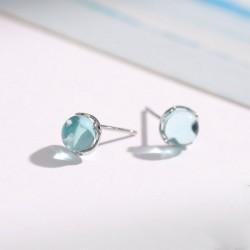 Gouttelettes uniques cristal argent larme eau femmes boucles d'oreilles goujons