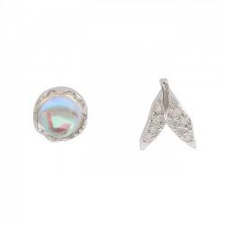 Queue de sirène unique cristal argent argent gouttelettes d'eau femmes boucles d'oreilles goujons