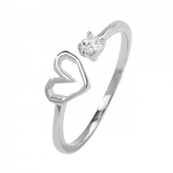 Romantic Love Heart Silver Crystal Cat Girl Open Ring